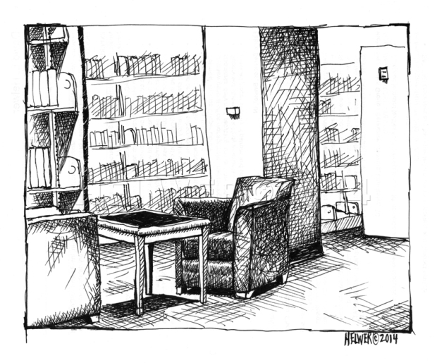 WAITING FOR A SHORT CONVERSATION. (library drawing, James B. Duke Memorial Library) (uni-ball ballpoint pen on resume copy, posterior)